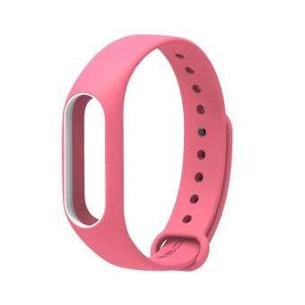 Harga New Colorful Silicone Strap Belt For Xiaomi Mi Band 2 Replacement Wrist Straps Wristband Bracelet for Mi Band 2 Accessories – Pink With White