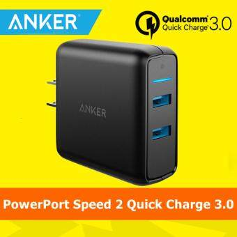Harga [Qualcomm Certifed] Anker PowerPort Speed 2 Quick Charge 3.0 36W 2 Port USB Wall Charger