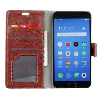 Harga Leather High Quality Litchi Skin Wallet Magnetic Flip Case Cover For Alcatel One Touch Pixi 4 5.0 5045D 4G (Brown)