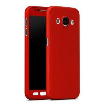 Harga 360 Degree Full Body Protection Cover Case With Tempered Glass for Samsung Galaxy J5 2016 (Red)