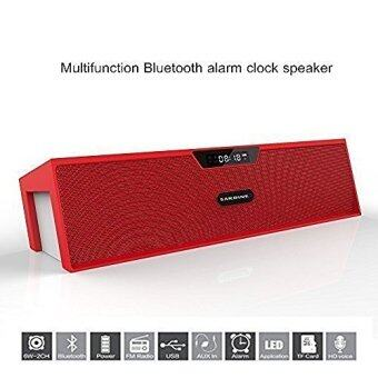 Harga Sardine SDY-019 Portable Wireless Bluetooth Stereo Speaker with 2 X 5W Speaker Enhanced Bass Resonator, FM Radio, Built-in Mic, LED Display, Alarm clock, 3.5 mm Audio Jack, support TF card/Micro SD card and USB input(Red and White)