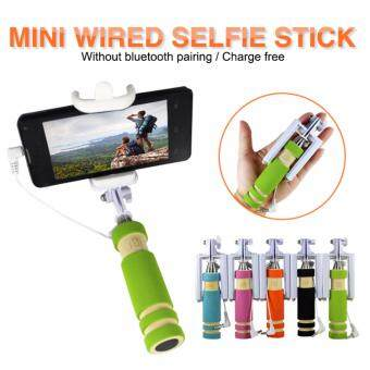 Harga Super Mini Size Foldable Selfie Monopod Wired Shutter Monopod For Apple iOS or Android