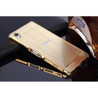Harga Shockproof Aluminum Frame and PC Back Panel Cover Case for Sony Xperia Z5 Premium/Z5 Plus(Gold)