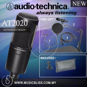 Harga Audio-Technica AT2020 Cardioid Condenser Microphone with Pop Filter & Mic Holder + 3m Cable (AT 2020)