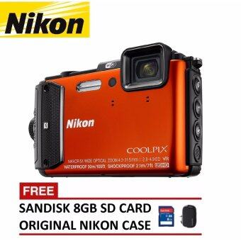 Harga Nikon Coolpix AW130 Digital Camera (Orange) + 8GB SanDisk SDHC Card + Nikon Casing (ORIGINAL NIKON MALAYSIA)