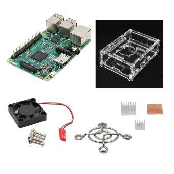 Harga Raspberry Pi 3 Model B + V31 Acrylic Case + Fan + 3 Heatsinks - Green