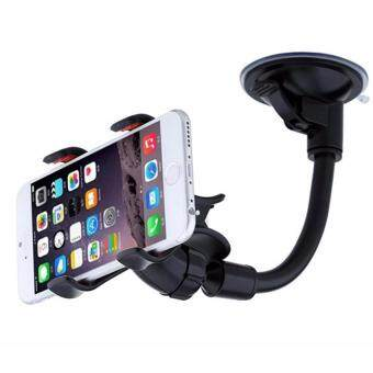 Harga 360° Rotation Car Mount Windshield Phone Holder For Most Phone Double Clip Car Mount Car Holder