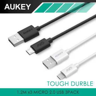 Harga Aukey Micro USB Cables (3 Pack) 20AwG 480Mbps Quick Charge Cable - White