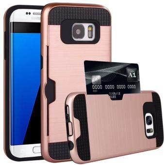 Harga Shockproof Armor Rubber Soft TPU + Hard PC Credit Card Slot Case for Samsung Galaxy S6 Edge Plus(Rose Gold)