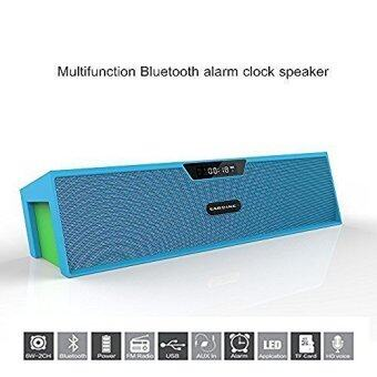 Harga Sardine SDY-019 Portable Wireless Bluetooth Stereo Speaker with 2 X 5W Speaker Enhanced Bass Resonator, FM Radio, Built-in Mic, LED Display, Alarm clock, 3.5 mm Audio Jack, support TF card/Micro SD card and USB input(Blue and Green)