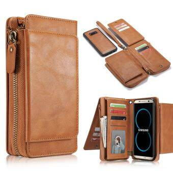 Harga Samsung S8 Plus Case,Jiaing Genuine Leather Wallet Phone Folio Flip Cover and Detachable Magnetic Back Cover Purse with Credit Card Holder For Galaxy S8 Plus,Brown(6.2'')