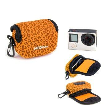 Harga NEOPine Leopard Pattern Neoprene Camera Case Bag for Gopro HERO3HERO3+ HERO4 Sport Action Camera (Orange)