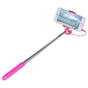 Harga Mini Pen Size Selfie Stick Monopod Wire Control Camera Shutter with Small Rearview Mirror