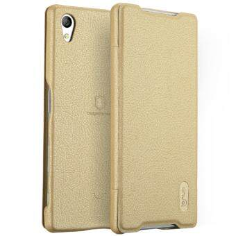 Harga Sony Xperia Z5 Premium Case, Lenuo Lemeng Ultra Thin Crash Proof Slim Fit Flip Up Inside Card Slot PU Leather Cover Soft PC Protective Shell Integrated Back Case for Sony Xperia Z5 Premium / Z5+ - Gold