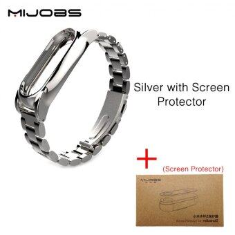 Harga Original Mijobs Metal Strap For Xiaomi Mi Band 2 Straps Screwless Stainless Steel Bracelet Replace Accessories For Mi Band 2 - With Film