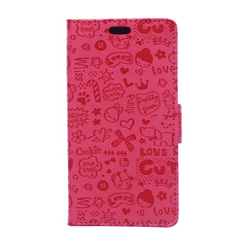 Harga Moonmini Cute Cartoon Pattern PU Leather Case With Magnetic Closure Flip Stand Cover for Alcatel One Touch Flash 2 (Pink)