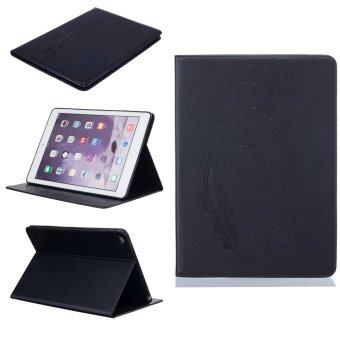 Harga Feather PU Leather Case Flip Wallet Stand Cover for Apple iPad 6 / iPad Air 2 (Black)