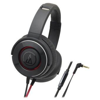 Harga Audio-Technica ATH-WS550is Solid Bass Over-Ear Headphones with Smartphone Control (Black Red)