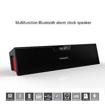 Harga Sardine SDY-019 Portable Wireless Bluetooth Stereo Speaker with 2 X 5W Speaker Enhanced Bass Resonator, FM Radio, Built-in Mic, LED Display, Alarm clock, 3.5 mm Audio Jack, support TF card/Micro SD card and USB input(Black and Red)