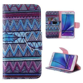 Harga Leather Flip Stand Case Wallet Cover for Samsung Galaxy Note 5 - Wave Feather