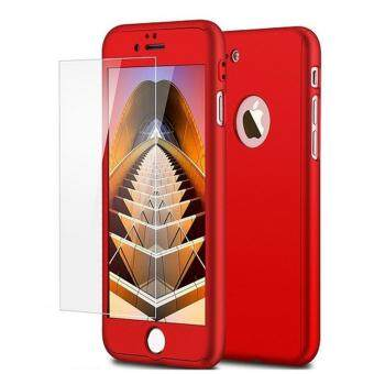 Harga 360 Degree Full Body Protection Cover Show Logo Case With Tempered Glass For iPhone 7 Plus (Red)