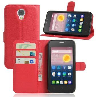 Harga PU Leather Wallet Case Cover For Alcatel One Touch Pixi 4 (5.0 inch) 3G Version (Red)