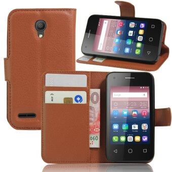 Harga PU Leather Wallet Case Cover For Alcatel One Touch Pixi 4 3.5 inch (Brown)