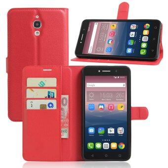 Harga PU Leather Wallet Case Cover For Alcatel One Touch Pixi 4 (6) 6.0 Inch 3G Version (Red)