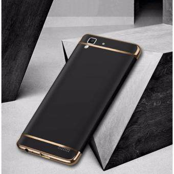 Harga Hybrid 3 In 1 Hard PC Frosted Matte Back Cover Case With Electroplated Frame For OPPO R7(Black)