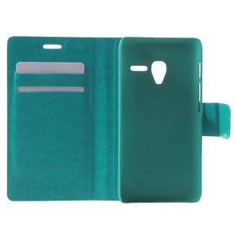 Harga Crazy Horse Leather Case Card Holder for Alcatel One Touch Pixi 3 4.5 4027D 4028E 5017A - Blue