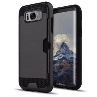 Harga Shockproof Armor Rubber Soft TPU + Hard PC Credit Card Slot Case for Samsung Galaxy S8(Black)