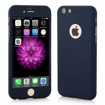 Harga 360 Degree Full Body Protection Cover Show Logo Case With Tempered Glass For iPhone 5/5S/5SE (Blue)
