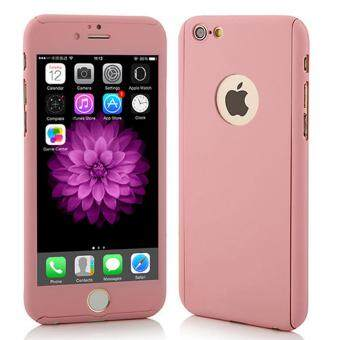 Harga 360 Degree Full Body Protection Cover Show Logo Case With Tempered Glass For iPhone 5/5S/5SE (Rose Gold)