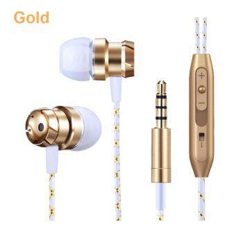 Harga LJ•MILLKEY L115-1 3.55mm Wired In-ear Earphone Super Bass HiFi Stereo Headphones Noise Isolating Sport Earplugs Headset with Microphone for ISO Android phones (Gold)