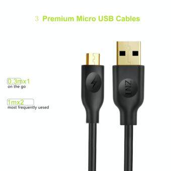 Harga ZNT MicroUSB Cable Gold Metallic Durable 2.4a Ultra speed charge High speed data transfer Android compatible USB recharge cable (0.3m x 1 cable , 1m x 2 cables ) Black