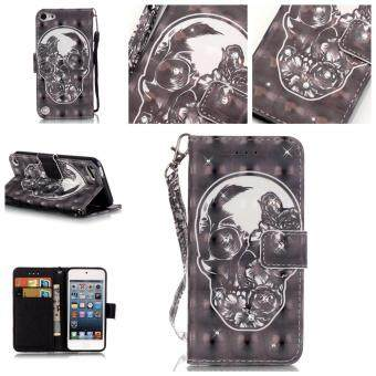 Harga 3D Pattern Leather Case for iPod Touch 5th / Touch 6th Flip Wallet Card Pouch Glitter Bling Stand Cover Skull