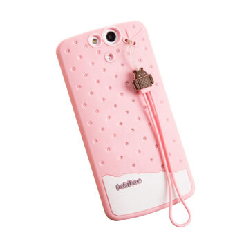 Harga Fabitoo Cute ice cream silicone back cover case For OPPO N1 Mini With lanyard -Pink Color
