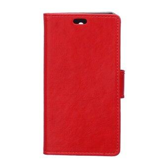 Harga Crazy-Horse Leather Flip Cover With Card Slot For Alcatel One Touch Flash OT6042D (Red)