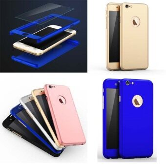 Harga Phone Cases 360 Degree Smooth Full Protection Case with Tempered Glass For iPhone6plus/6splus-Blue
