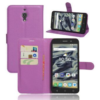 Harga PU Leather Wallet Case Cover for Alcatel One Touch Pixi 4 (6) 6.0 Inch 4G Version (Purple)