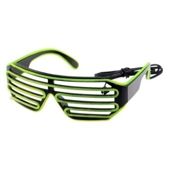 Harga Party Concert 3 Mode LED Glasses With Controller (Green + Black)