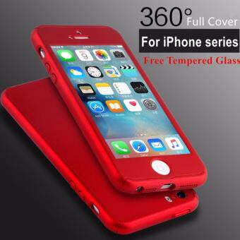 Harga 360 Full Body Coverage Caes For iPhone 6/6s with Tempered Glass Screen Protector - Red