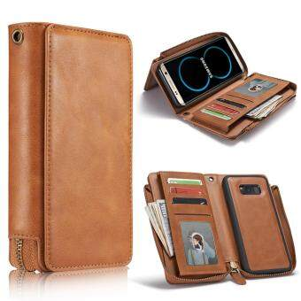 Harga Samsung S8 Case,Jiaing Genuine Leather Wallet Phone Folio Flip Cover and Removable Back Cover with Card Money Slots Credit Card Holder For Galaxy S8,Brown(5.8'')