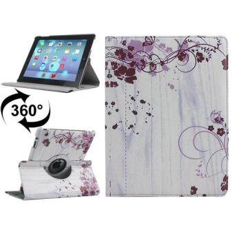 Harga 360 Degree Rotation Flower Wisteria Pattern Flip Leather Case With Holder For IPad 4 / New IPad (iPad 3) / IPad 2