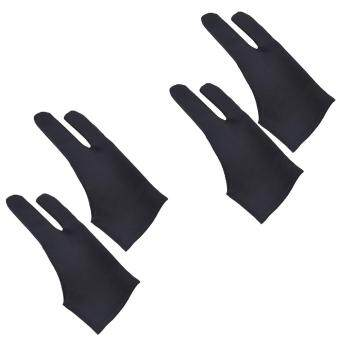 Harga 2Pcs Professional 2-fingers Tablet Drawing Gloves Anti-fouling Soft Breathable Double-side Use Artist Mittens for Graphic Tablet Art Creation Pen Display iPad Pro Pencil Black