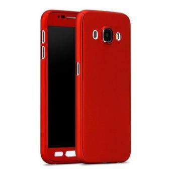 Harga 360 Degree Full Body Protection Cover Case With Tempered Glass for Samsung Galaxy J5 (Red)