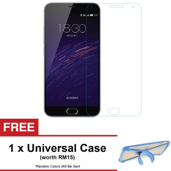Harga Meizu M1 Note Premium Tempered Glass Screen Protector + FREE Universal Rubber Case