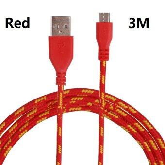 Harga Micro USB Charger Cable,3M Long micro usb charging cable and Power Date Cables for Android Smartphones (3M Red)