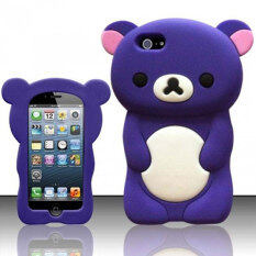 Leegoal 3D Rilakkuma Bear Silicone Soft Case Cover Fit for the New iPhone 5 5S (