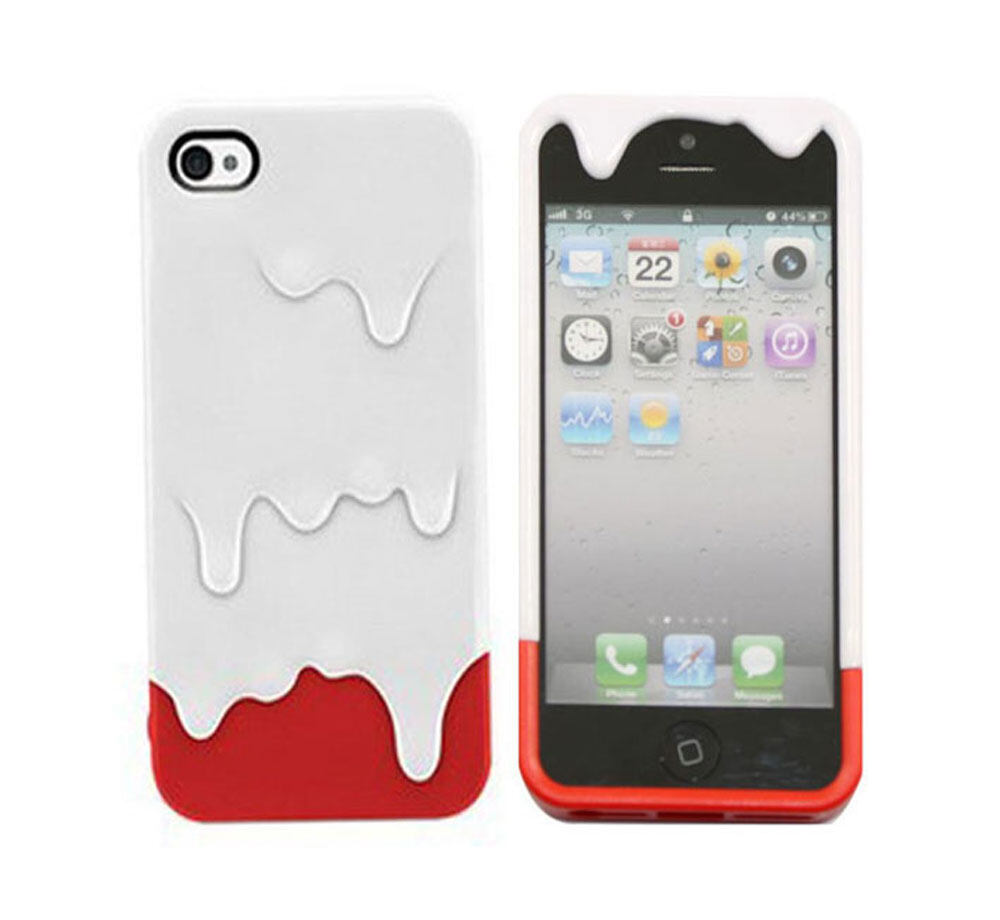 Leegoal White Red 3D Melt Ice Cream Hard Case Cover for iPhone 5 .